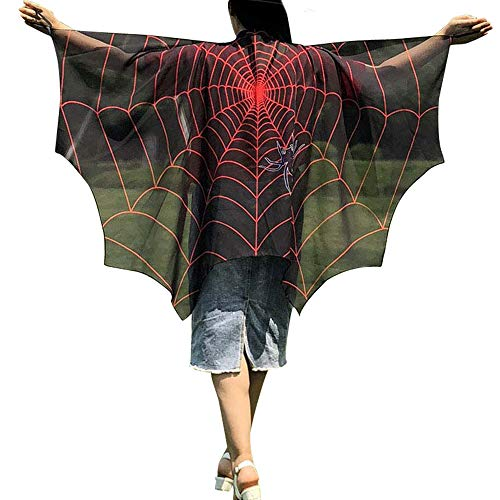 DEATU Halloween Costume, Novelty Pumpkin Print Cape Scarf Halloween Poncho Shawl/Costume Accessory (c-Black) -