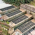 "30"" W Set of 4 Elegant Outdoor Black Scrollwork Rubber Non Slip Stair Treads Mat"