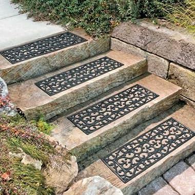 30  W Set of 4 Elegant Outdoor Black Scrollwork Rubber Non Slip Stair Treads Mat
