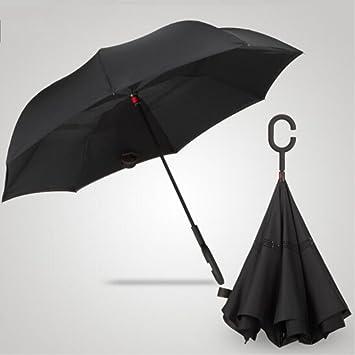 paraguas Reversal personalidad creativa paraguas antideslizante con doble asa de revés sombrilla (Color : #