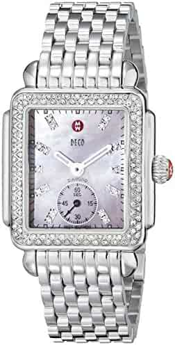 MICHELE Women's MWW06V000049 Deco 16 Silver-Tone Watch