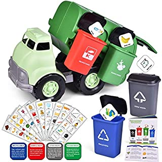 FUN LITTLE TOYS Garbage Truck Toy, Friction Powered Car with 4 Garbage Cans and Back Dump for Kids
