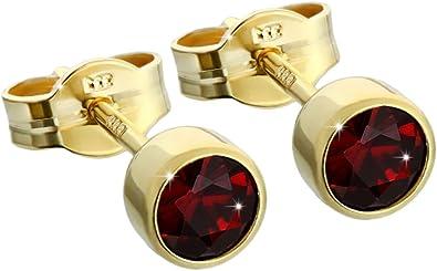 Paar Ohrstecker Gold 333er 4,50mm echt Granat Damen Herren Kinder 6717