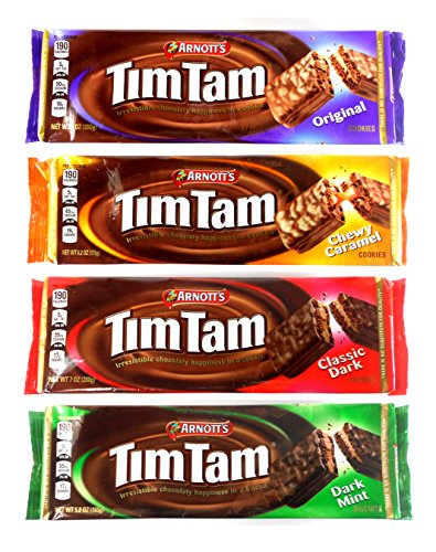 Arnott's Tim Tam Australian Chocolate Cookies Pack of 4 Variety (Original, Caramel, Dark, Dark Mint) Full Size