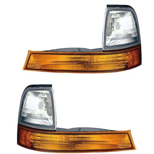 Aftermarket Replacement Left Right Sides Pair Park Signal Side Marker Lights for 1998-2000 Ford ()