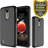 LG Aristo 2/Aristo 2 Plus/Zone 4/Tribute Dynasty/K8 Plus/K8+/K8 2018/Rebel 2/Phoenix 3/Fortune 2/Risio 2 Case HD Screen Protector, ATUS Hybrid Dual Layer Protective Case (Black)