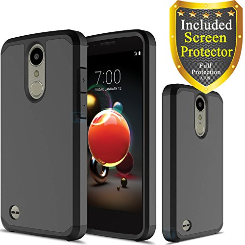 LG Aristo 2/LG Zone 4/LG Tribute Dynasty/LG Rebel 2/ LG Phoenix 3/ LG Fortune/ LG Risio 2 Case, With HD Screen Protector, ATUS – Hybrid Dual Layer Protective TPU Case (Black/Black)