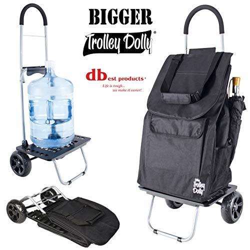 Trolley Black Bag (Bigger Trolley Dolly, Black Shopping Grocery Foldable Cart)