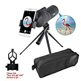 AOMEKIE Spotting Scope Waterproof for Target Shooting 15-45 X 50mm Zoom Spotter Scope with Tripod Phone Adapter and Carrying Bag 45-Degree Angled for Hunting Bird Watching