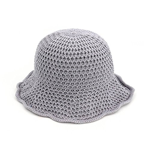 Aabigale beautiful Hot Sale Straw Sun Hats For Women Crochet Straw Beach Hat Sun Protection Hat Female grey