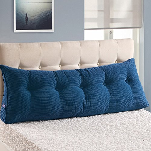 WOWMAX PP-Cotton Filled Triangular Wedge Pillow Positioning Support Reading Backrest Cushion for Sofa Bed Day Bed and Upholstered Headboard with Removable and Washable Cover Jean Blue (Back Daybed)
