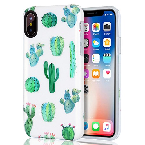 iPhone-X-Case-iPhone-XS-Case-iPhone-10-Case-Girls-Women-White-Green-Cactus-Best-Protective-Bumper-Slim-Fit-Heavy-Duty-Cute-Thin-Soft-Clear-Silicone-Rubber-TPU-Cover-Phone-Case-for-iPhone-XXS