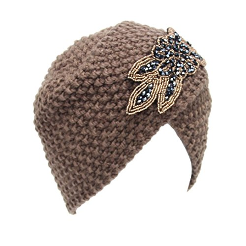 GBSELL Fashion Womens Lady Winter Warm Knit Crochet Ski Hat Braided Turban Headdress Cap (Khaki)