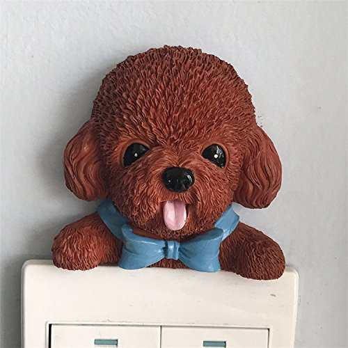 Chocolate Brown Poodle Pet Dog Stick-On Wall Light Switch Toy Figure Decorative -