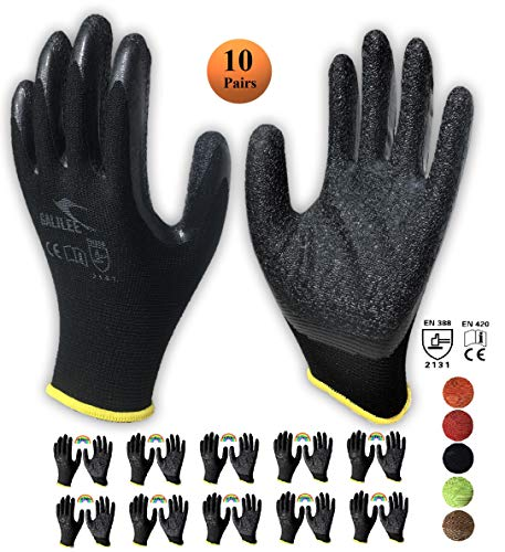 GLL Nitrile Latex Rubber Palm Dipped Safety Gloves for Work, Nylon Knit, Textured Grip (10 Pair Pack) (Large, Black)