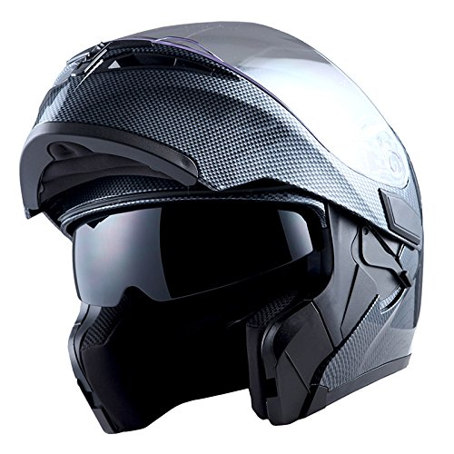 1Storm Motorcycle Modular Full Face Helmet Flip up Dual Visor Sun Shield: HB89 Carbon Fiber Black
