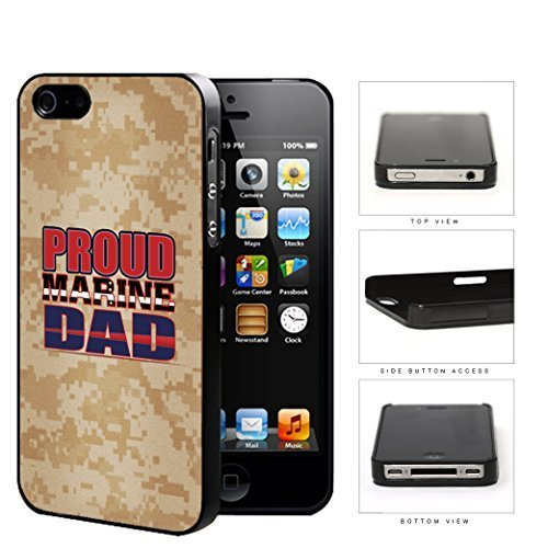 Proud Marine DAD Orange Brown Camo Background iPhone 4 4s Hard Snap on Plastic Cell Phone Case Cover