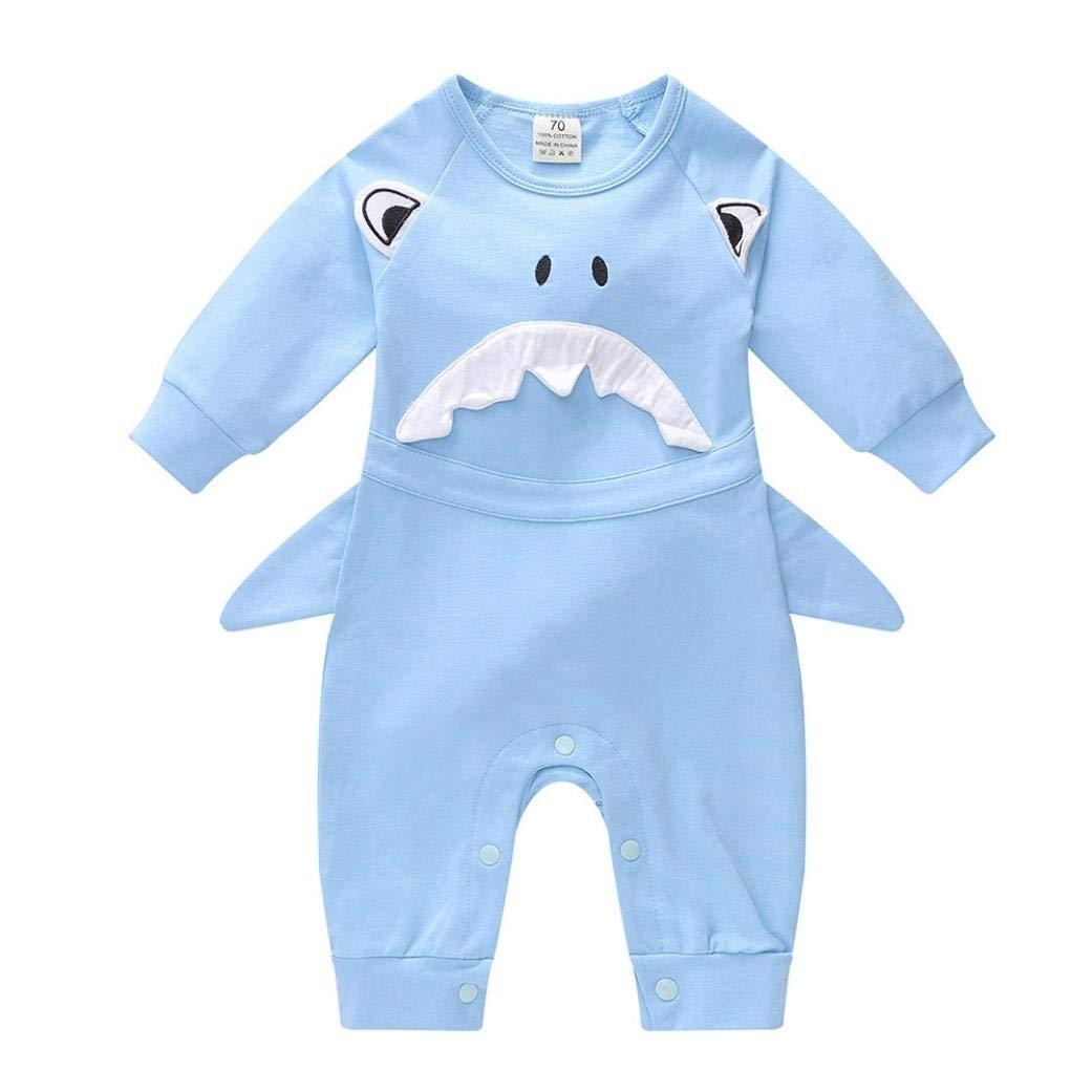 Neonato Unisex Pagliaccetto, Bambino 3D Squalo Stampa Body Tutine, Baby Maniche Lunghe Costume Set