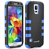 Fosmon HYBO-CAGE Slim Fit Dual Layer Front and Back Hybrid Case for Samsung Galaxy S5 - Retail Packaging (Blue and Black)