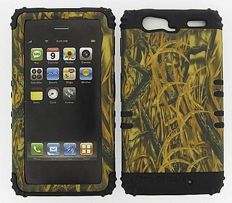 Motorola Droid Razr Maxx Xt913 Camo Shedder Grass Heavy Duty Case + Black Gel Skin Snap-on Protector - Chrome Hard Rocker