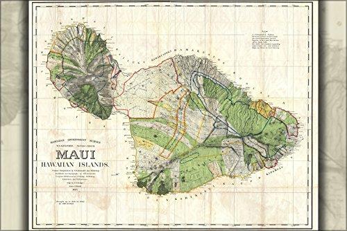 1885 Map (24x36 Poster; 1885 De Witt Alexander Wall Map Of Maui, Hawaii)