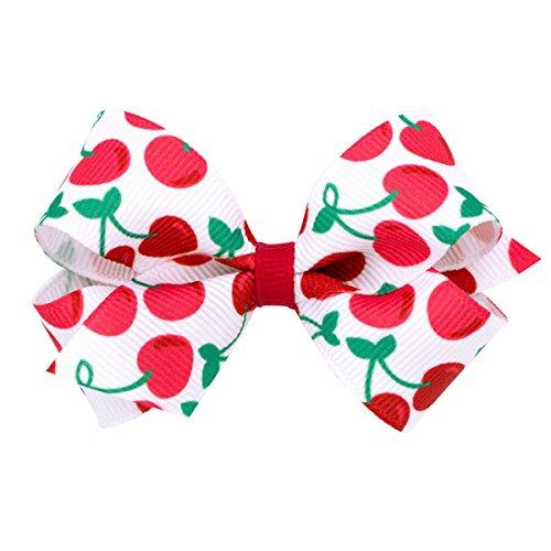 s' Satin Print Bow on a WeeStay No Slip Clip, Cherry, Mini (Satin Chr)