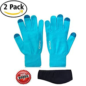 2 Pairs CoolKo Newest Touch Screen Blue Gloves for Smartphones and tablets with SPECIAL BONUS Ear Warmer Head Band
