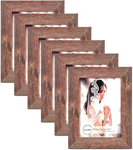 Yaetm 5x7 Picture Frames (6 Pack) Distressed Wood Finish Photo Frame for Tabletop Display Wall Mount High Definition Glass Photo Frame, 6 ()