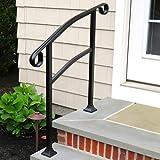 InstantRail 3-Step Adjustable Handrail (Black for Wood Steps)