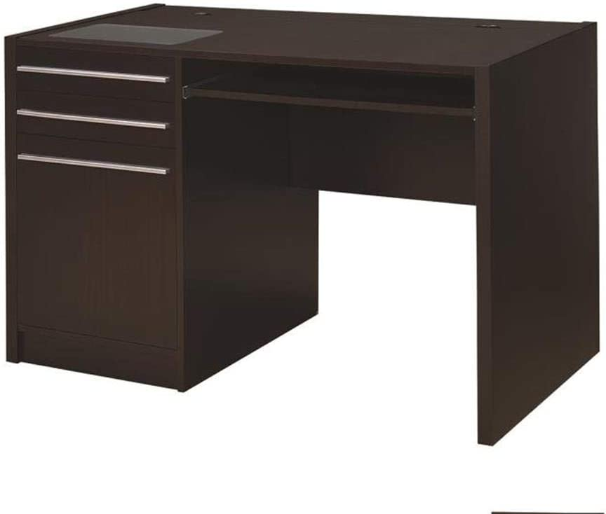 Coaster Home Furnishings Ontario Single Pedestal Computer Desk with Charging Station, Cappuccino