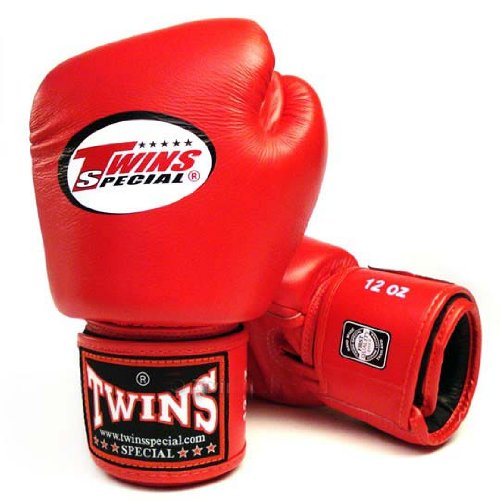 TWINS SPECIAL BOXING GLOVES RED COLOR PREMIUM LEATHER W/ VELCRO (12 oz.)