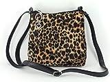 Loni Womens Trendy Animal Print Faux Fur Shoulder Bag/Cross-Body Bag in Leopard