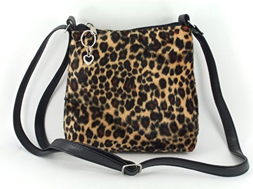 Loni Womens Trendy Animal Print Faux Fur Shoulder Bag/Cross-Body Bag in Leopard