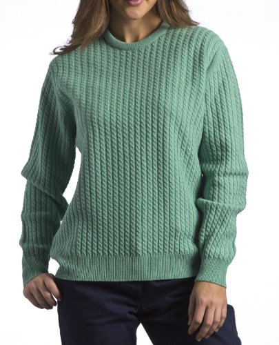 Great and British Knitwear Women's 100% Lambswool Long Sleeved Baby Cable Pullover with Crew Neck-Rural-Small