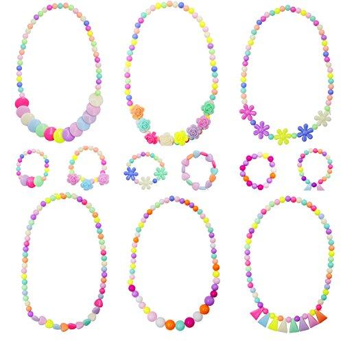 Granmp 6 Sets Princess Necklace Bracelet, Dress Up Jewelry for Little Girls Kids Necklace Little Girls Jewelry Toddler Jewelry Costume Play Necklace and Bracelet Set Party Favor -