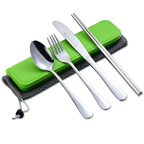 Flatware Set Stainless Steel Chopstick Spoon Fork Knife for Travel Camping Outdoor Office with Case and Net Bag City Park Kids Student Desk