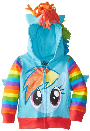 Price comparison product image My Little Pony Little Girls' Toddler Rainbow Dash Hoodie, Blue/Multi, 3T