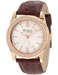 Caravelle by Bulova Womens 44L105 Rose Gold-Tone Leather and Crystal Watch