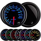 GlowShift Tinted 7 Color 2400 F Pyrometer Exhaust Gas Temperature EGT Gauge Kit - Includes Type K Probe - Black Dial - Smoked Lens - for Car & Truck - 2-1/16'' 52mm