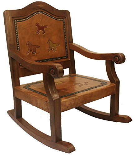 Kids Leather & Wood Rocking Chair w Hand-Tooled Running Horses 84118 by New World Trading