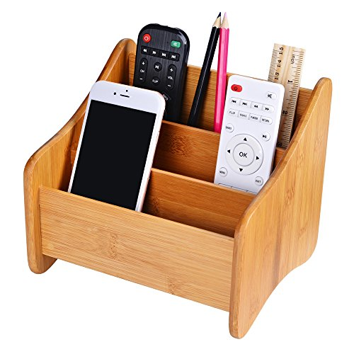 Hot Bamboo Desk Organizer, Desk Caddy, Makeup Organizer, Remote Control Holder | 3 Compartments for sale