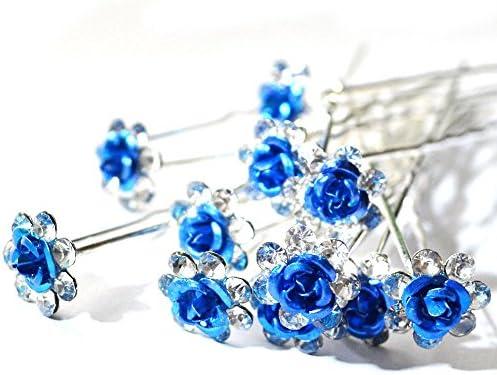 Bridal Wedding Prom Party Crystal Rhinestone Rose Flower Hair Pins Clips Grips