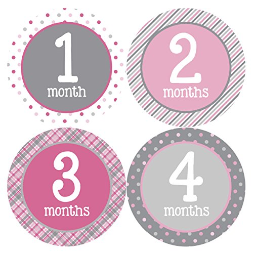 Months in Motion 295 Monthly Baby Stickers Milestone Age Sticker Photo Prop Newborn Girl (Pink Photo Birth Announcement)