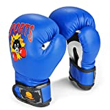 Flexzion Kids Youth Boxing Gloves 12.7 oz - Junior Mitts Children Punching Training Exercising Grappling Sparring Fighting Kickboxing Muay Thai Bag Equipment Pair for Age 5-10 Years (Blue)