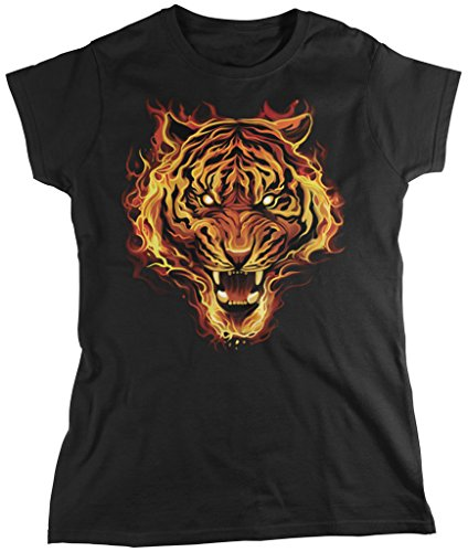 Flaming Tiger, Tiger Made of Fire Women's T-shirt, Amdesco, Black XL
