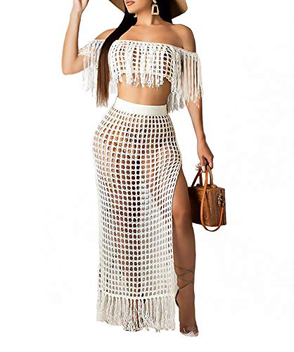 (Women Off Shoulder Cover Up Maxi Skirt Sets Crochet Tassel Fringe 2 Piece Outfit Slit Beach Dress White Size XXXL)