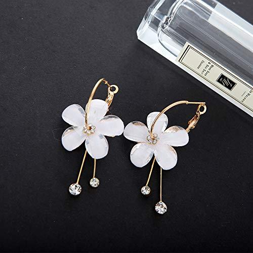 (cata New Korean Version 6 Petals Acrylic Zircon Fringed Several Earrings Circle Transparent Earrings Sun Flower Earrings)