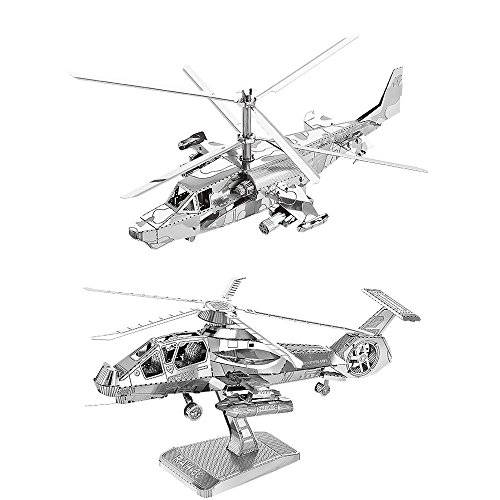 MOTU 2pcs 3D Metal Puzzle KA-50 Helicopter + RAH-66 Stealth Helicopter Model Kits D21123-28 DIY 3D Laser Cut Jigsaw Toy