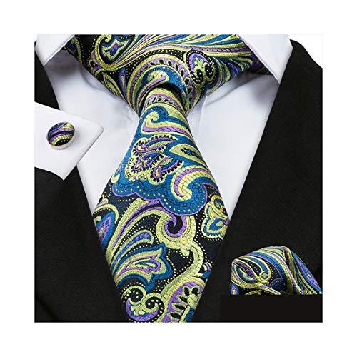 4bdead74685f YOHOWA Paisley Tie Floral Necktie Set Silk Men Pocket Square Cufflinks