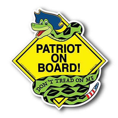 Patriot on Board - Don't Tread on Me - Gadsden Snake Patriotic American Car Magnet